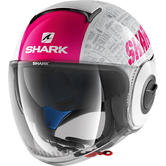 Shark Nano Tribute RM Open Face Motorcycle Helmet M White Pink Anthracite