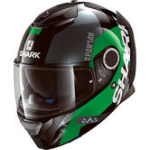 Shark Spartan Apics Motorcycle Helmet XS Black Green Silver