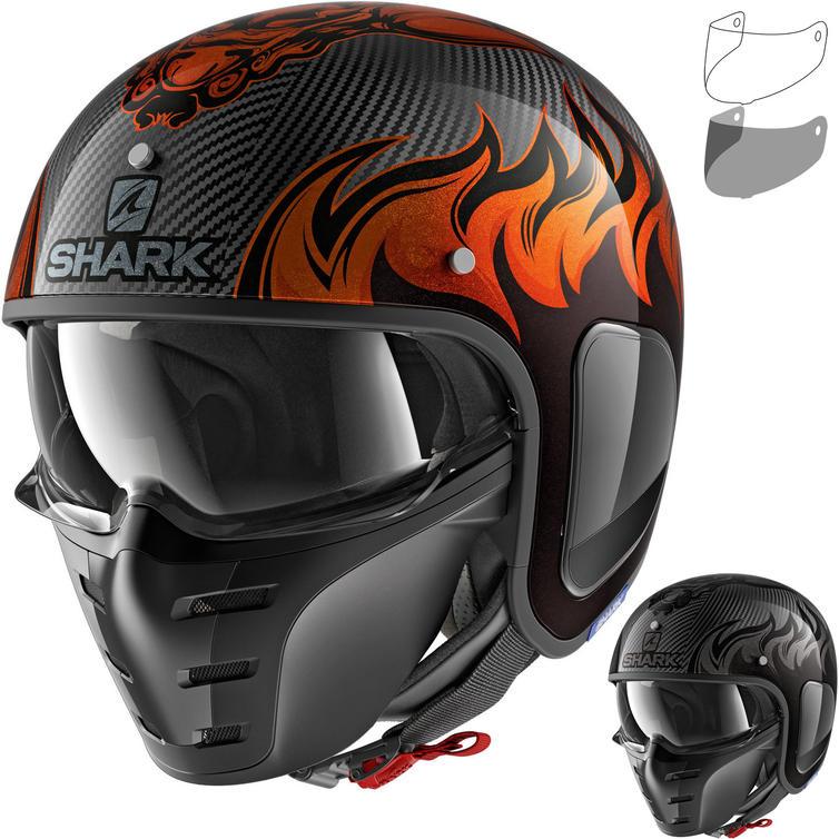 Shark S-Drak Carbon Dagon Open Face Motorcycle Helmet & Visor