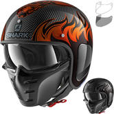Shark S-Drak Carbon Dagon Open Face Motorcycle Helmet & Visor