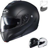 HJC C90 Plain Flip Front Motorcycle Helmet & Visor