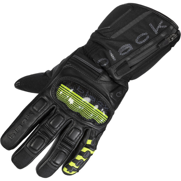 Black Odyssey Waterproof Leather Motorcycle Gloves