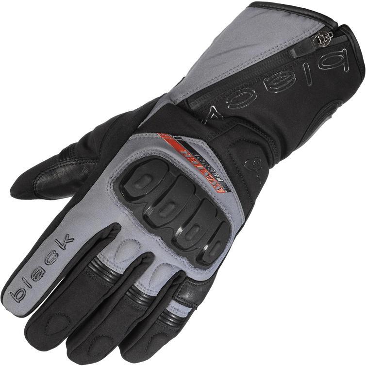 Black Voyage Waterproof Leather Motorcycle Gloves