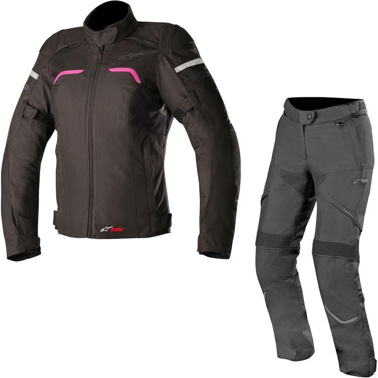 Alpinestars Stella Hyper DryStar Ladies Motorcycle Jacket & Trousers Black Fuchsia-Black Kit