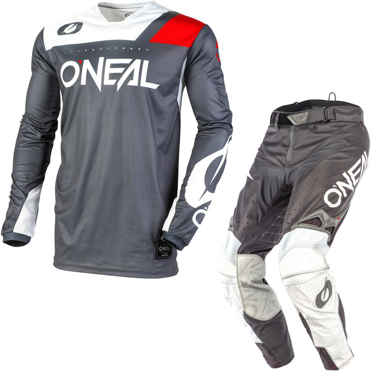 Oneal Hardwear 2020 Reflexx Motocross Jersey & Pants Grey White Kit