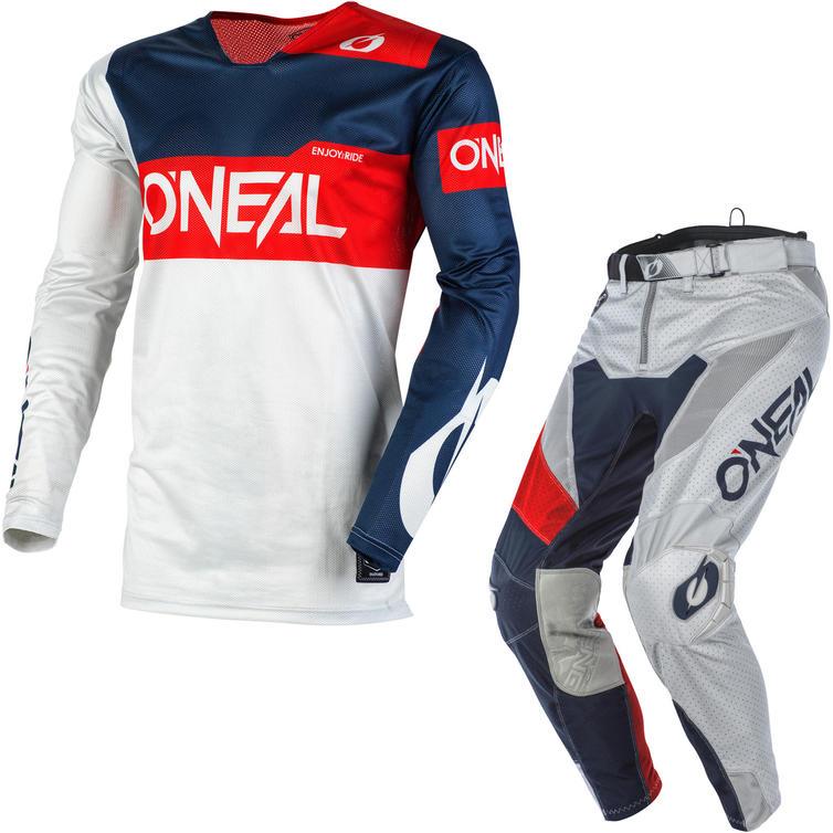 Oneal Airwear 2020 Freez Motocross Jersey & Pants Grey Blue Red Kit