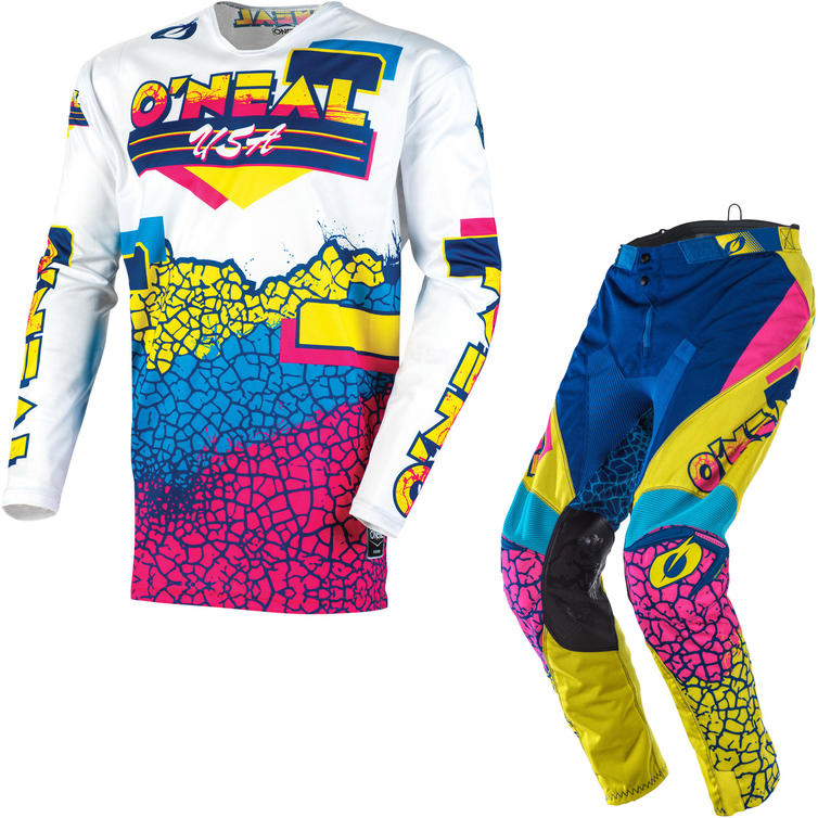 Oneal Mayhem 2020 Crackle 91 Motocross Jersey & Pants Yellow White Blue Kit