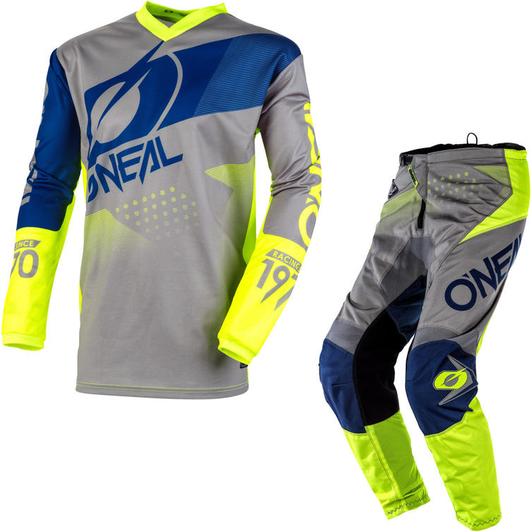 Oneal Element 2020 Factor Motocross Jersey & Pants Grey Blue Neon Yellow Kit