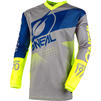 Oneal Element 2020 Factor Motocross Jersey & Pants Grey Blue Neon Yellow Kit Thumbnail 4