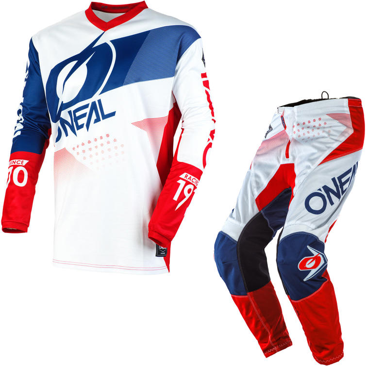 Oneal Element 2020 Factor Motocross Jersey & Pants White Blue Red Kit