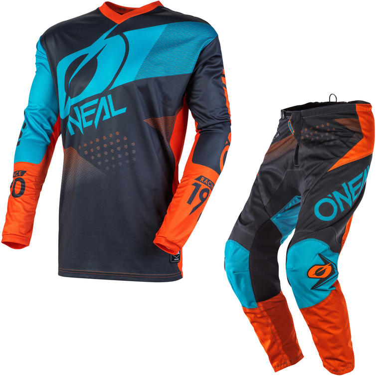 Oneal Element 2020 Factor Motocross Jersey & Pants Grey Orange Blue Kit