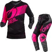 Oneal Element 2020 Factor Ladies Motocross Jersey & Pants Black Pink Kit
