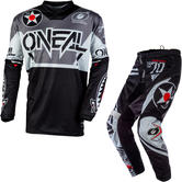 Oneal Element 2020 Warhawk Motocross Jersey & Pants Black Grey Kit