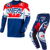 Oneal Element 2020 Warhawk Motocross Jersey & Pants Blue Red Kit
