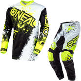 Oneal Element 2020 Impact Motocross Jersey & Pants Black Neon Yellow Kit