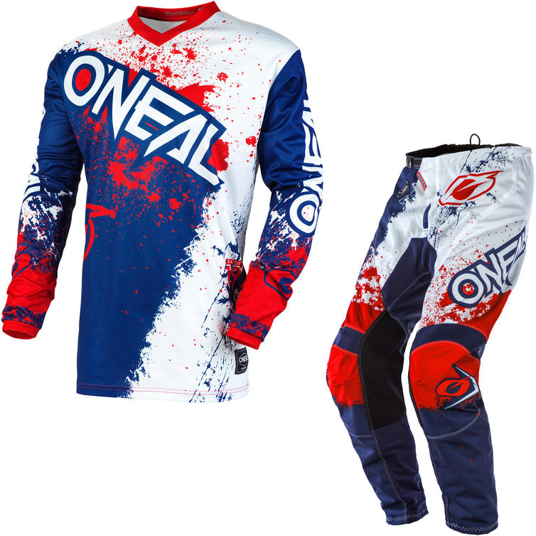 Oneal Element 2020 Impact Motocross Jersey & Pants Blue Red Kit