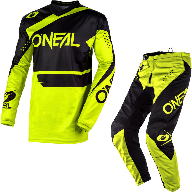 Oneal Element 2020 Racewear Motocross Jersey & Pants Black Neon Yellow Kit