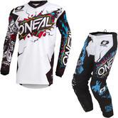 Oneal Element 2020 Villain Motocross Jersey & Pants White Kit