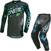 Oneal Element 2020 Villain Motocross Jersey & Pants Grey Kit