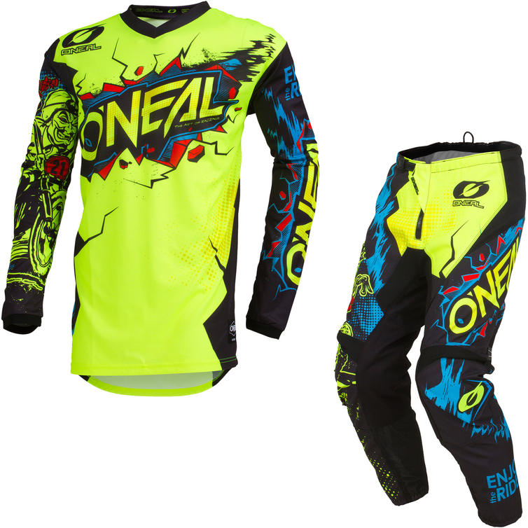 Oneal Element 2020 Villain Youth Motocross Jersey & Pants Neon Yellow Kit