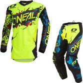 Oneal Element 2020 Villain Youth Motocross Jersey & Pants Neon Yellow Kit