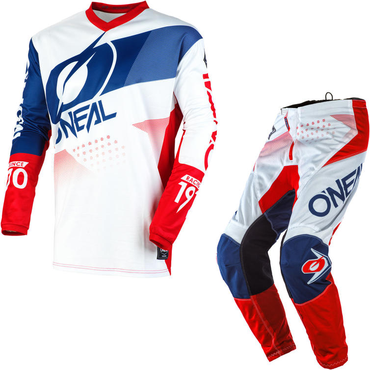 Oneal Element 2020 Factor Youth Motocross Jersey & Pants White Blue Red Kit