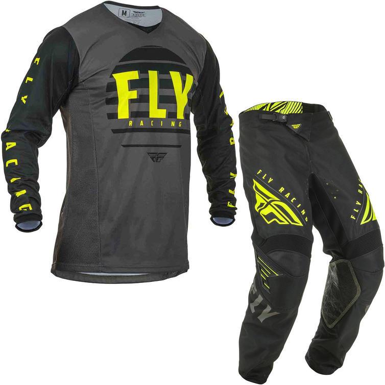 Fly Racing 2020 Kinetic K220 Motocross Jersey & Pants Black Grey Hi-Vis Kit