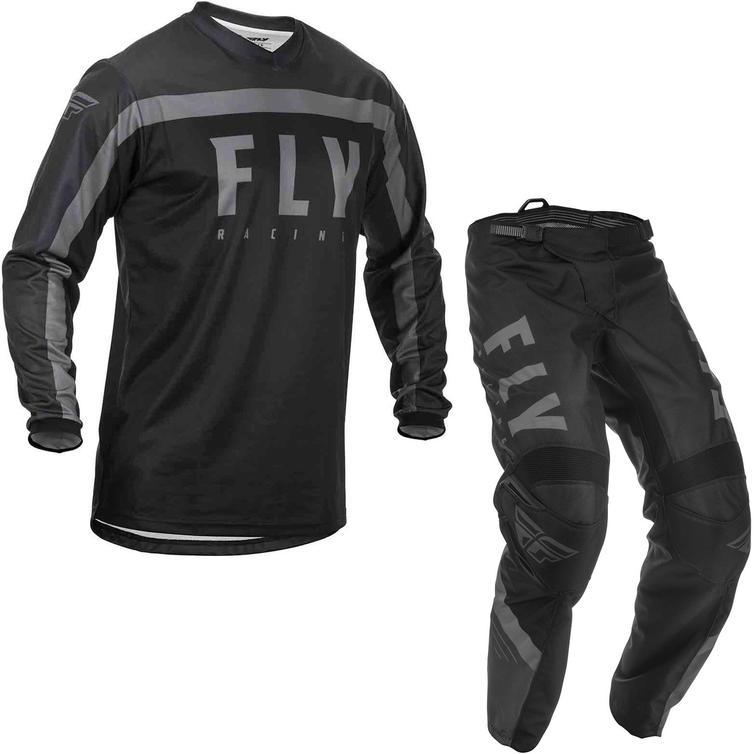 Fly Racing 2020 F-16 Motocross Jersey & Pants Black Grey Kit