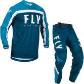 Fly Racing 2020 F-16 Motocross Jersey & Pants Navy Blue White Kit