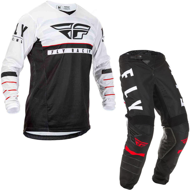 Fly Racing 2020 Kinetic K120 Youth Motocross Jersey & Pants Black White Red Kit