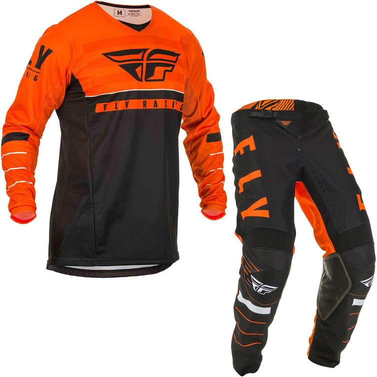 Fly Racing 2020 Kinetic K120 Youth Motocross Jersey & Pants Orange Black White Kit
