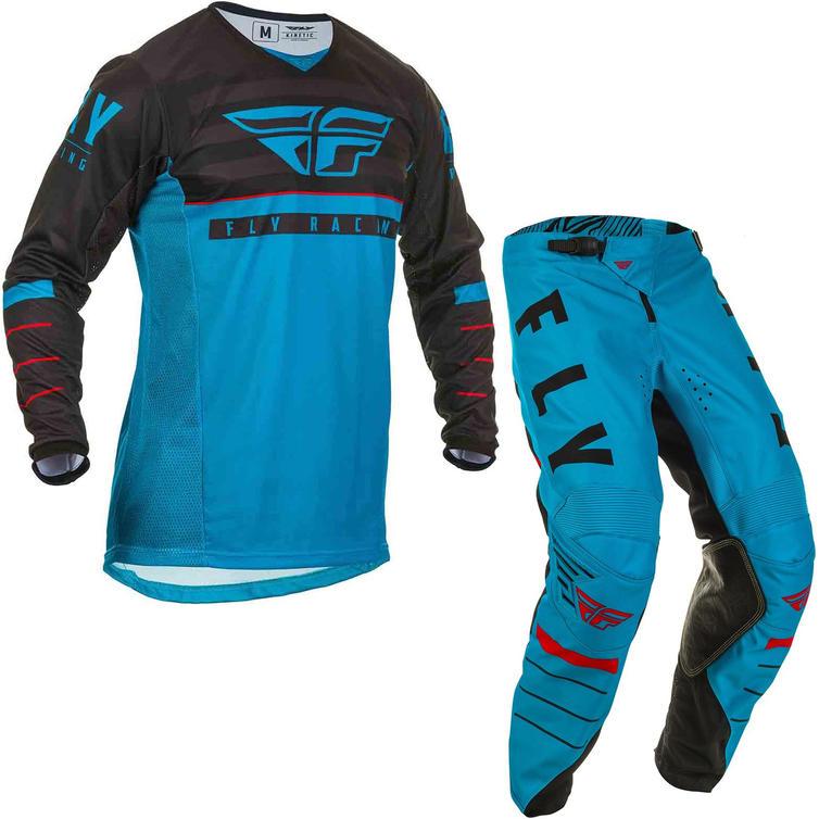 Fly Racing 2020 Kinetic K120 Youth Motocross Jersey & Pants Blue Black Red Kit