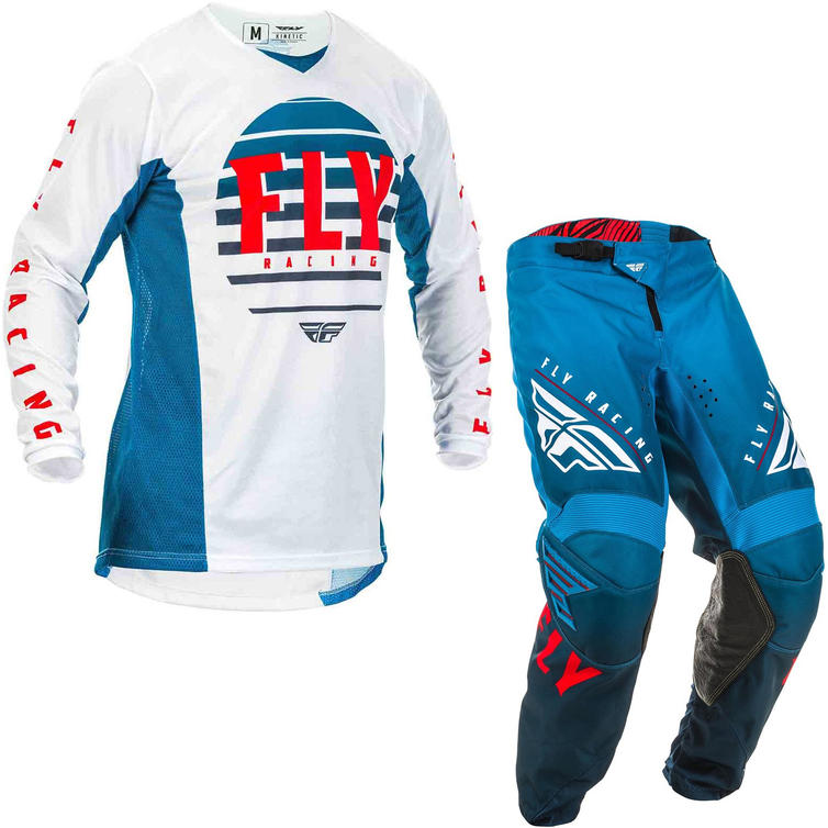 Fly Racing 2020 Kinetic K220 Youth Motocross Jersey & Pants Blue White Red Kit