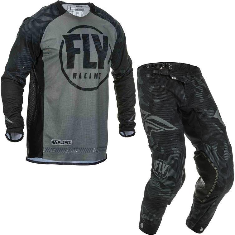 Fly Racing 2020 Evolution Motocross Jersey & Pants Black Grey Kit