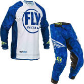 Fly Racing 2020 Evolution Motocross Jersey & Pants Blue White Kit