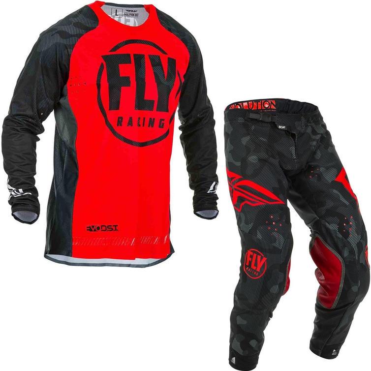 Fly Racing 2020 Evolution Motocross Jersey & Pants Red Black Kit