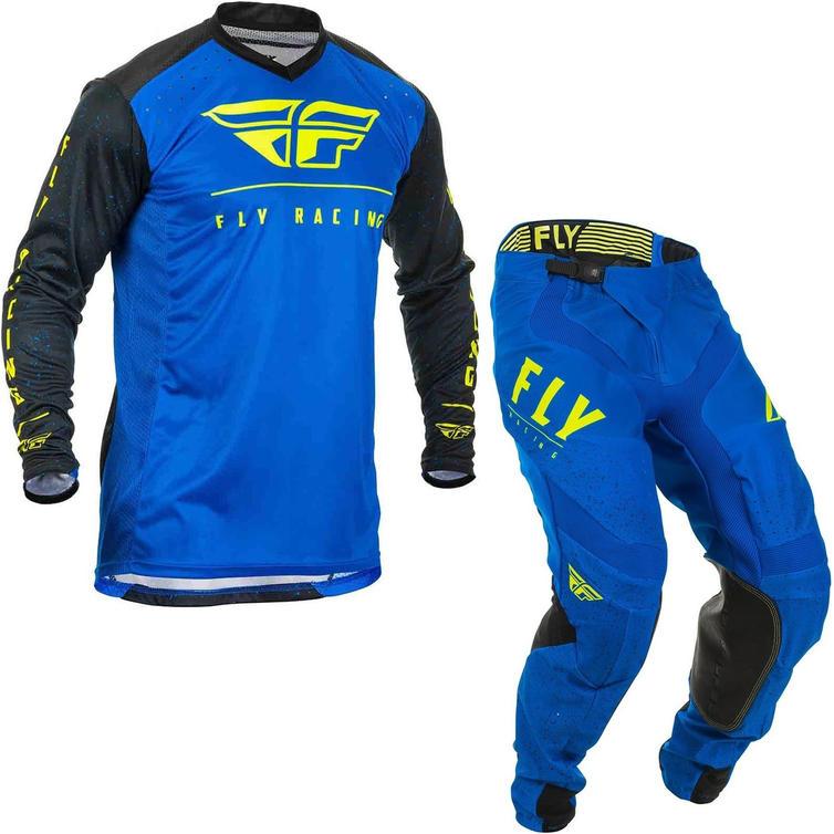 Fly Racing 2020 Lite Hydrogen Motocross Jersey & Pants Blue Black Hi-Vis Kit
