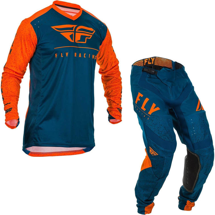 Fly Racing 2020 Lite Hydrogen Motocross Jersey & Pants Orange Navy Kit