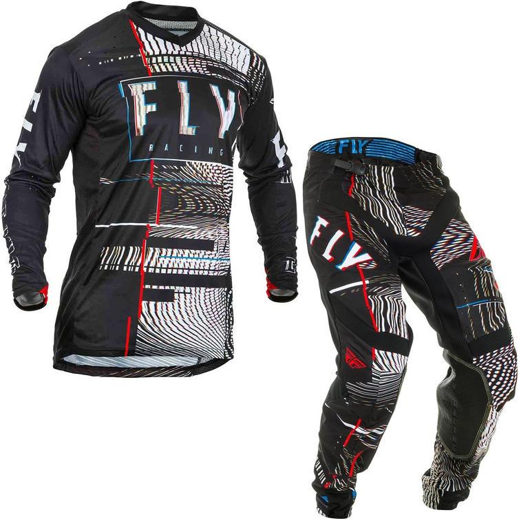 Fly Racing 2020 Lite Glitch Motocross Jersey & Pants Black Red Blue Kit
