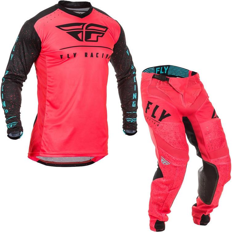Fly Racing 2020 Lite Hydrogen Monster Energy Cup SE Motocross Jersey & Pants Coral Black Blue Kit