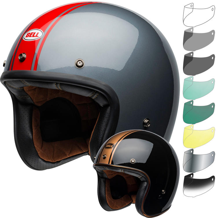 Bell Custom 500 DLX Rally Open Face Motorcycle Helmet & Visor