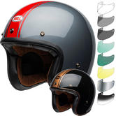 Bell Custom 500 DLX Rally Open Face Motorcycle Helmet & Visor