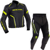 Richa Monza Leather Motorcycle Jacket & Trousers Black Fluo Kit + FREE BOOTS