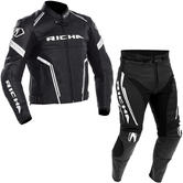 Richa Monza Leather Motorcycle Jacket & Trousers Black White Kit + FREE BOOTS
