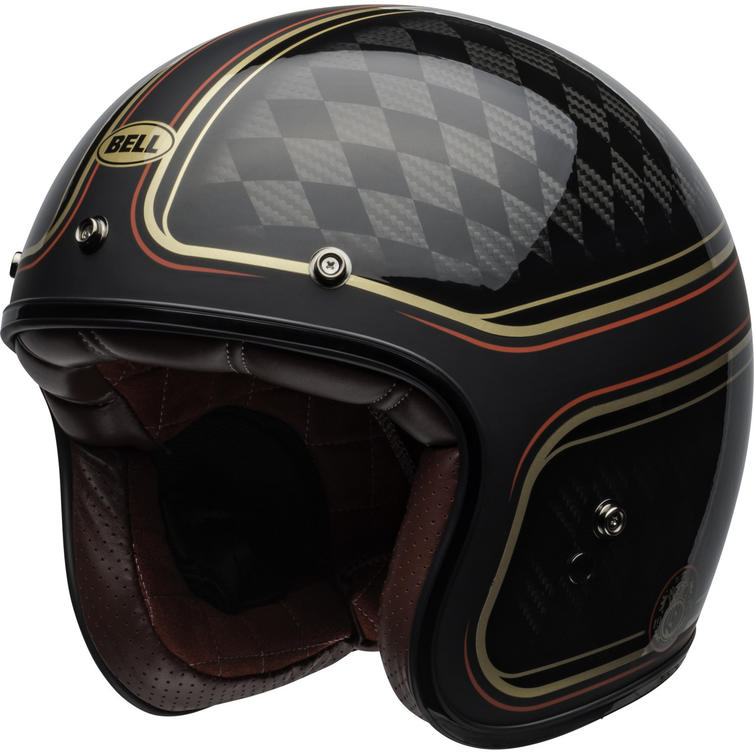 Bell Custom 500 Carbon RSD Checkmate Open Face Motorcycle Helmet