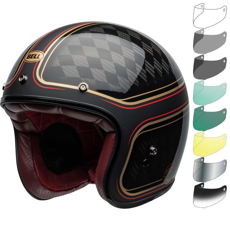 Bell Custom 500 Carbon RSD Checkmate Open Face Motorcycle Helmet & Visor