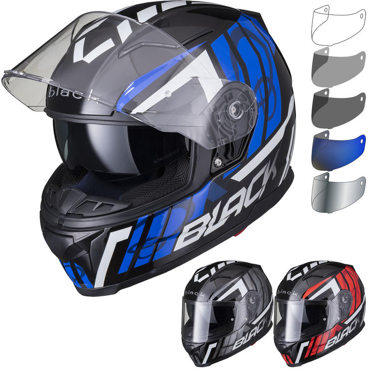 Black Apex Triple Full Face Motorcycle Helmet