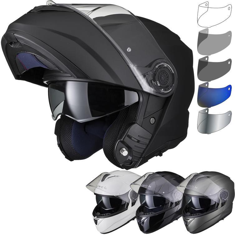 Black Optimus II Flip Front Solid Motorcycle Helmet & Visor