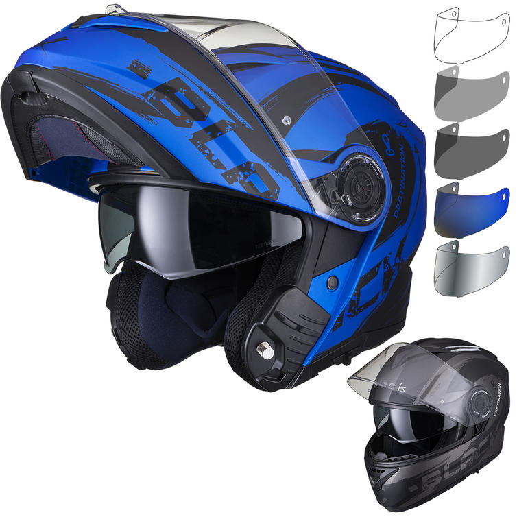 Black Optimus II Destination Flip Front Motorcycle Helmet & Visor Kit