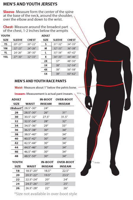 Fly MX Kit Sizing Guide